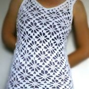 White Lacy Flower Vest