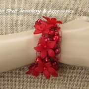 Red Glass Pearls and Petal Crochet Cuff Bracelet