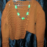 crocheted Asymmetrical Jacket in bronze
