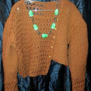 crocheted Asymmetrical Jacket in bronze