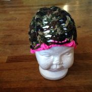 Camo and pink baby hat
