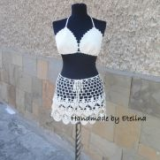 Crochet Beach Set, Crochet Skirt, Lacy Top, Summer Lace Suit, Resort Cover up,  Beachwear Bra