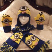 """Minion"" Inspired Hat, Mitt, Scarf Set"