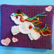 Rainbow Unicorn Crochet Painting with Hearts