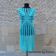 Aqua Blue Dress, Crochet Turquoise Beach Dress, Aqua Tunic Crochet, Summer Beach Dress,