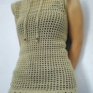 Oatmeal Drawstring Sleeveless Mesh Top