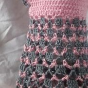 FREE SHIPPING, Baby girl, pink and gray dress, handmade crocheted baby, girl clothes, Spring dress,