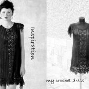 Black Crochet Dress, Elegant Woman Dress, Handmade Crochet  Dress