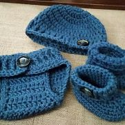 Sweet Little Diaper Cover, Hat & Bootie Set