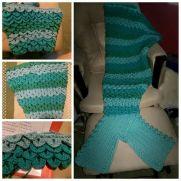 Adult Mermaid Crocodile Stitch Blanket