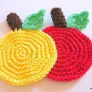 easy apple coaster free pattern