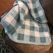 Crocheted baby gingham blanket