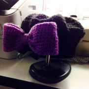 Slouchy hat with big bow for preschooler.  :)
