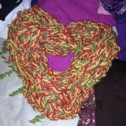 One of a kind finger crochet infinity scarf named Yuletide as gift