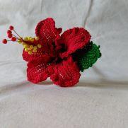 Chevron Red Hibiscus