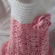 Baby girl, pink and white dress, handmade crocheted baby, girl clothes