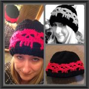 Skull Band Beanie in School Colors