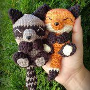 Napping Nature~Fox & Raccoon