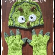 Triceratops Crochet Hat and Claw Gloves