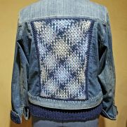 Pooling Crochet Embellished Jean Jacket