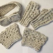 Pearl Fleck Bow Headband, Fingerless Gloves, Boot Cuffs Set