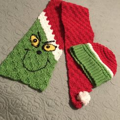 Crocheted grinch scarf and hat