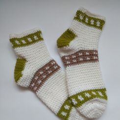White - Green Socks
