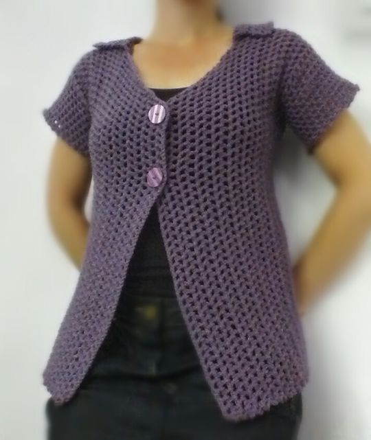 Light Purple Short Sleeve Mesh Cardigan