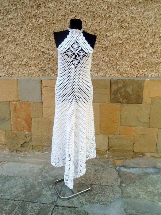 Wedding Dress, Bohemian Clothing, Bridal Crochet Dress, Alternative Wedding Dress
