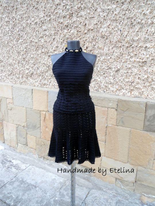 Crochet Suit, Black Crochet Suit , Two Piece Suit, Crochet Top and Skirt, Women Lace Costume