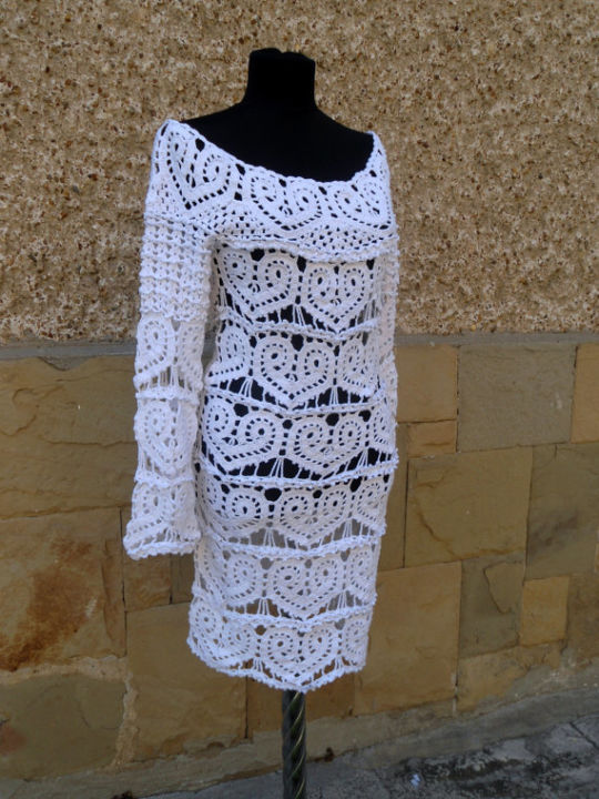 Crochet White Dress, Wedding Lace Dress, Hearts Dress, Lace Wedding Dress, Cocktail Crochet Dress