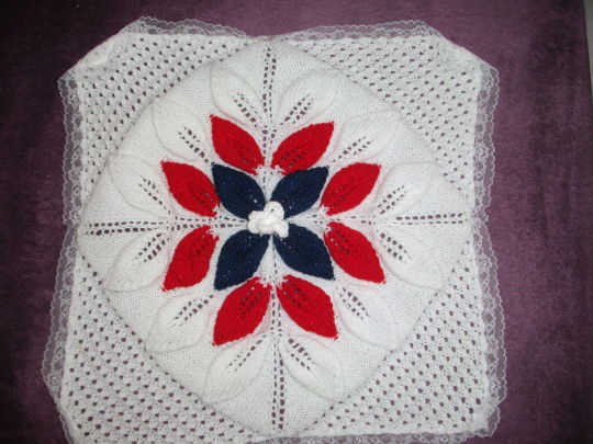 3 row flower baby blanket