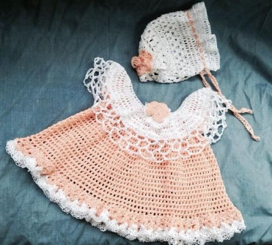 Peach Crochet baby set