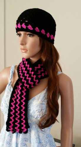 Beanie & Scarf Combo Hot Pink & Black