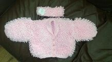 Pink Newborn Loopy Cardigan and Headband