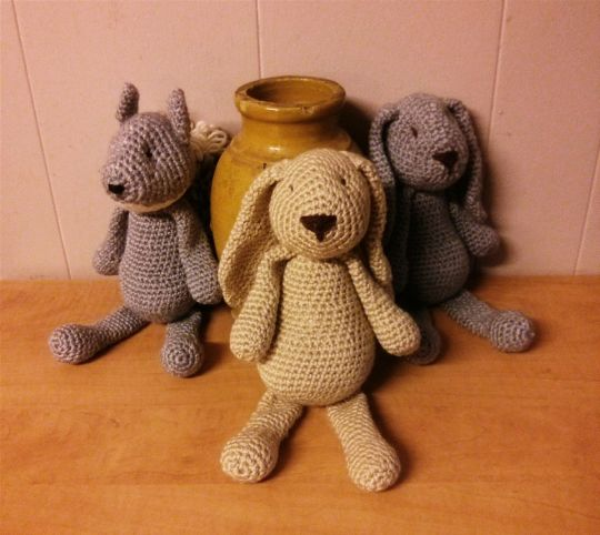 Two Rabbit's and a Squirrel crocheted Toys