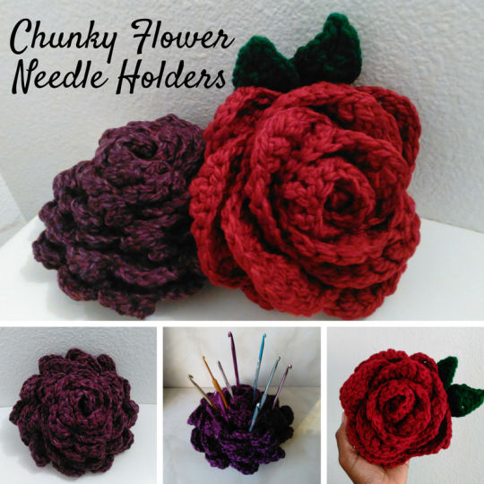 Crochet Flower Needle Holder
