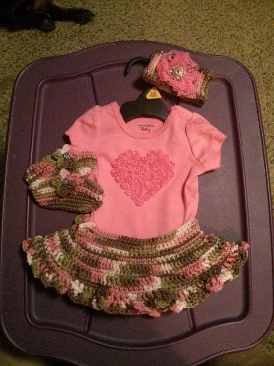 baby girl pink camo set