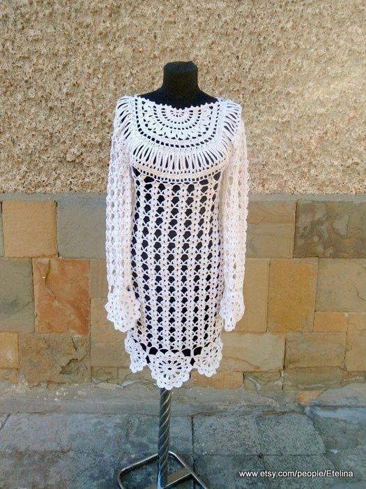 Crochet Dress, Wedding Dress, White Women Crochet Dress, Flower Motif Dress