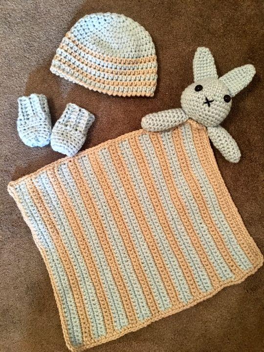 Crochet Bunny Baby Boy Set