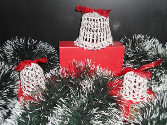 Crochet Silver Bells Christmas Bells Decoration Crochet Home Decor