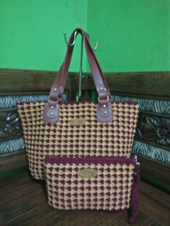 Maroon gold handbags