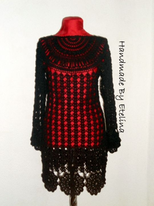 Black Crochet Dress, Women Fashion Dress, Black Lace Dress, Handmade with love By Etelina