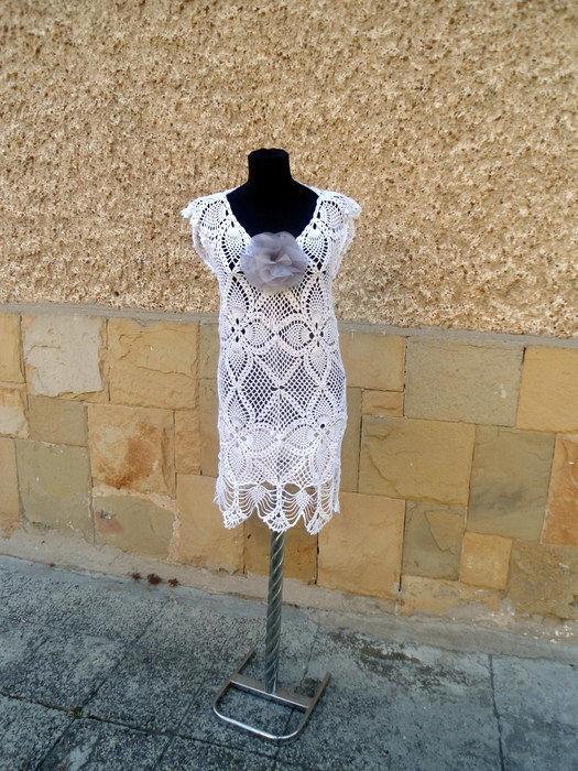 Crochet Beach Dress, White Handmade Dress, Summer Beach Dress, Crochet Resort Dress, Sexy Lace Dress