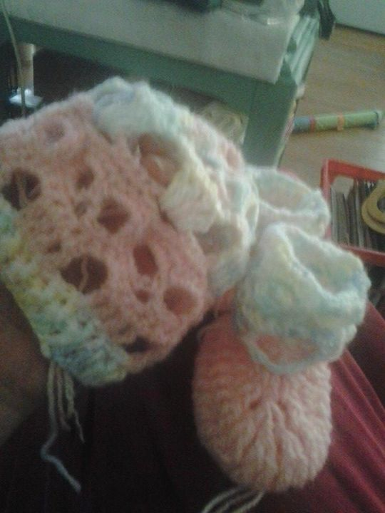 baby creepy skull hat and booties