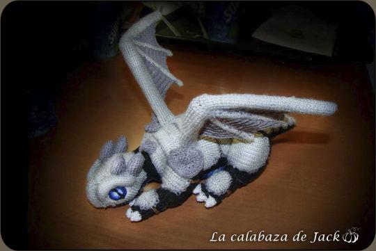 Black crochet dragon with Armor