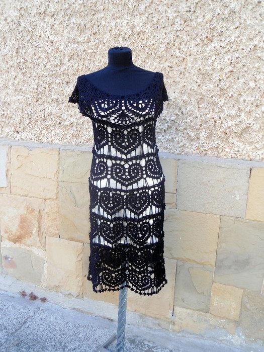 Black Crochet Dress, Little Black  Dress, Lace Wedding Dress, Hearts Motif,  Handmade Dress