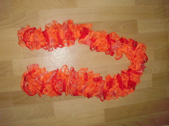 Crochet shawl from ruffle yarn