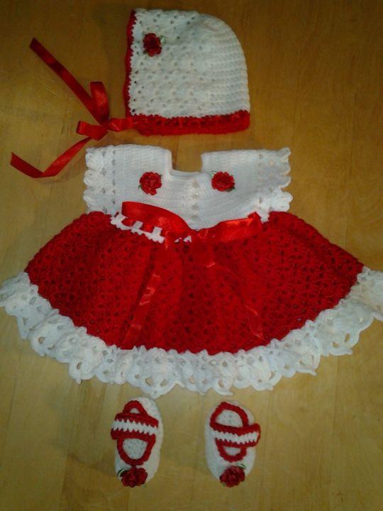 Christmas Baby Dress Set - Bonnet, Booties & Dress