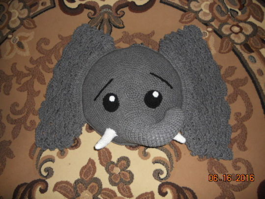 Jeffery Elephant Pillow Crochet Creation By Charlotte Huffman